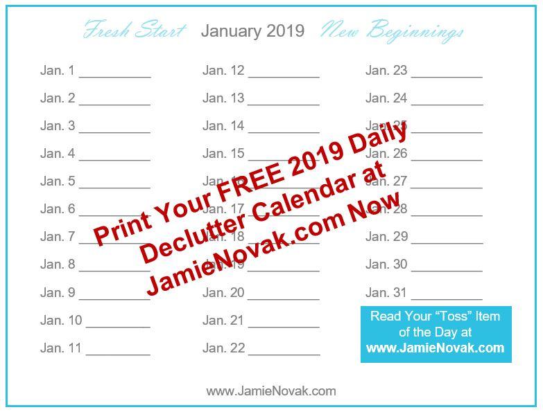 Jamie Novak Free 2019 Daily Declutter Calendar